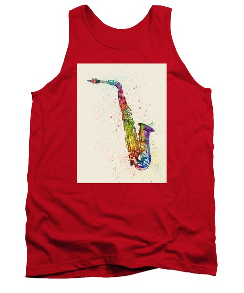 Saxophone Abstract Watercolor Tank Top