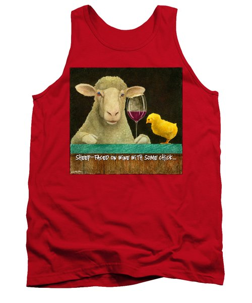 Sheep Faced On Wine With Some Chick... Tank Top