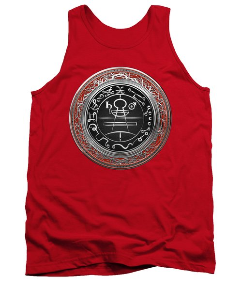 Silver Seal Of Solomon - Lesser Key Of Solomon On Red Velvet  Tank Top