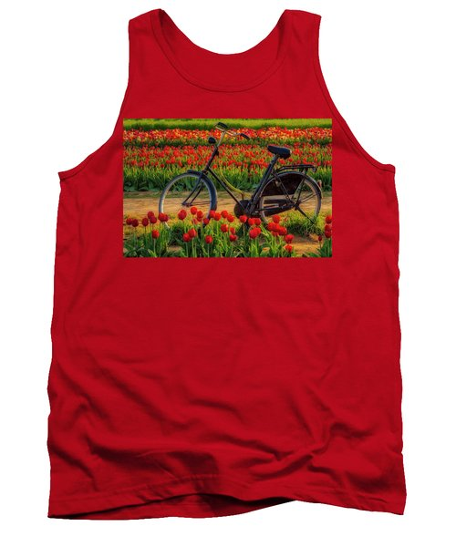Tank Top featuring the photograph Springtime Tulips And Bike by Susan Candelario