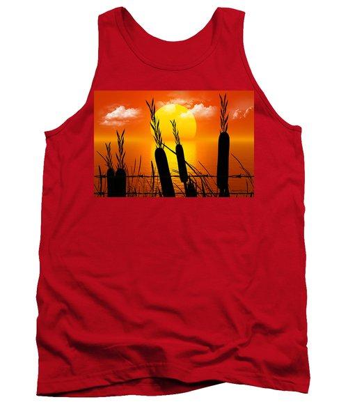 Sunset Lake Tank Top by Robert Orinski