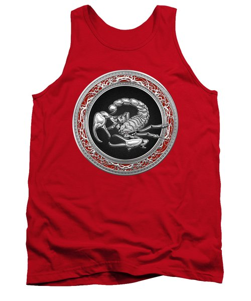 Treasure Trove - Sacred Silver Scorpion On Red Tank Top