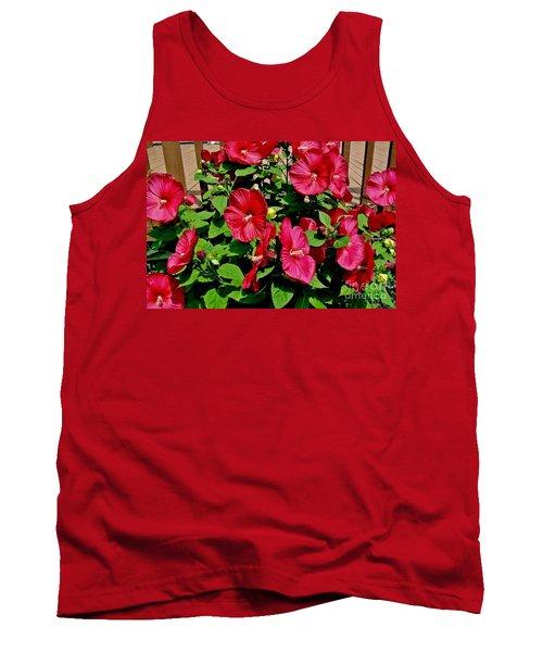 Tropical Red Hibiscus Bush Tank Top by Marsha Heiken