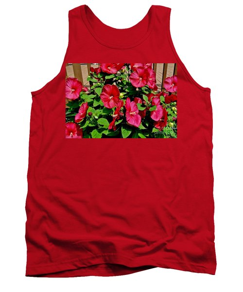 Tropical Red Hibiscus Bush Tank Top