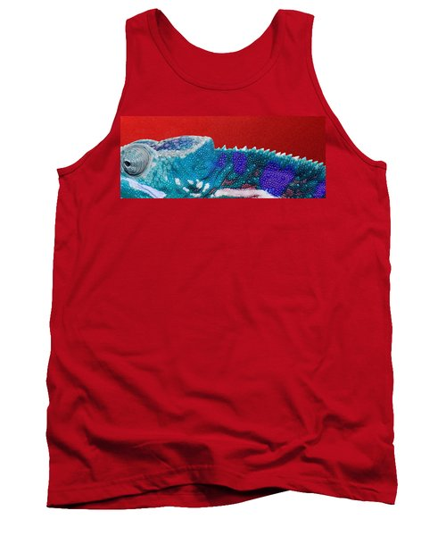 Turquoise Chameleon On Red Tank Top