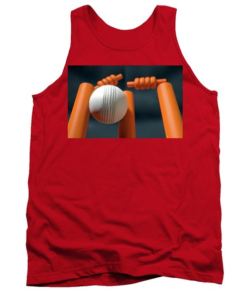 Cricket Ball Hitting Wickets Tank Top