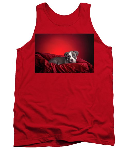 Tank Top featuring the photograph American Pitbull Puppy by Peter Lakomy