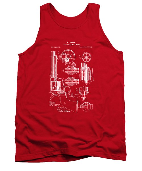Tank Top featuring the drawing 1875 Colt Peacemaker Revolver Patent Red by Nikki Marie Smith
