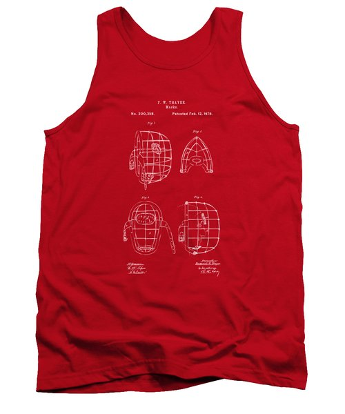 1878 Baseball Catchers Mask Patent - Red Tank Top by Nikki Marie Smith