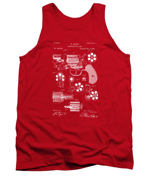 Tank Top featuring the drawing 1881 Colt Revolving Fire Arm Patent Artwork Red by Nikki Marie Smith