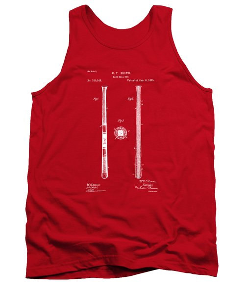 1885 Baseball Bat Patent Artwork - Red Tank Top