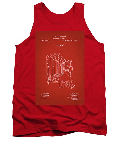 1888 Camera Us Patent Invention Drawing - Red Tank Top