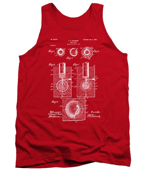 1902 Golf Ball Patent Artwork Red Tank Top by Nikki Marie Smith