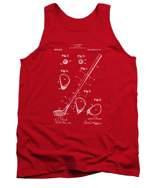Tank Top featuring the drawing 1910 Golf Club Patent Artwork Red by Nikki Marie Smith
