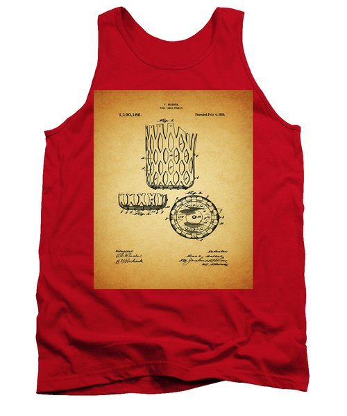 Tank Top featuring the mixed media 1916 Pool Table Pocket Patent by Dan Sproul