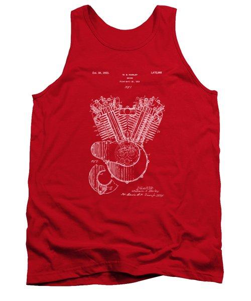 Tank Top featuring the digital art 1923 Harley Engine Patent Art Red by Nikki Marie Smith