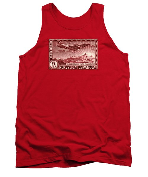 1931 Airplane Over Madrid Spain Stamp Tank Top