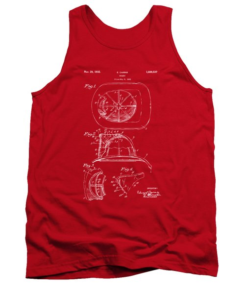 1932 Fireman Helmet Artwork Red Tank Top