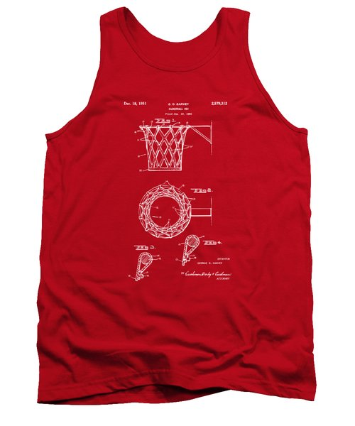 1951 Basketball Net Patent Artwork - Red Tank Top by Nikki Marie Smith