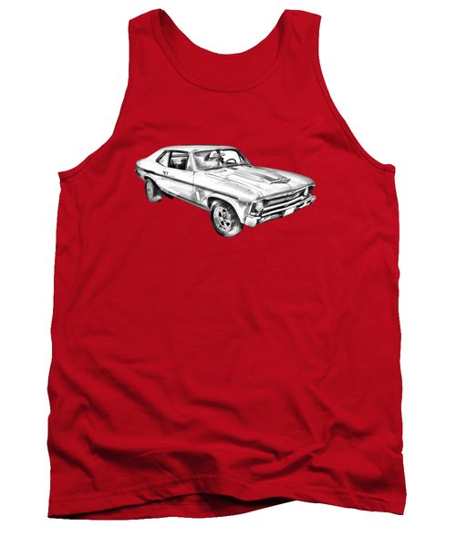 1969 Chevrolet Nova Yenko 427 Muscle Car Illustration Tank Top
