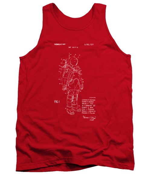 1973 Space Suit Patent Inventors Artwork - Red Tank Top