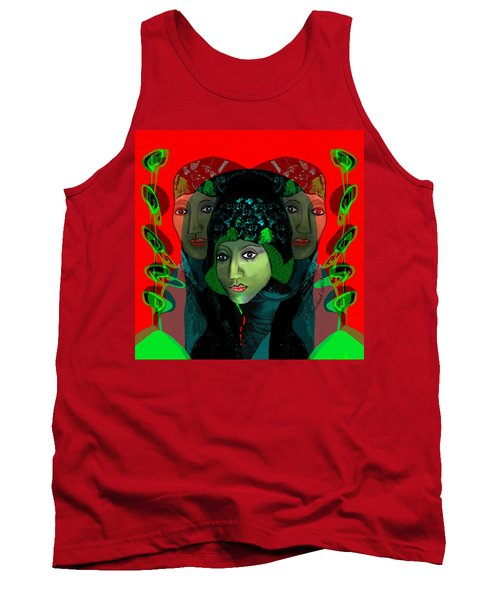 Tank Top featuring the digital art 1975 - Mystery Woman by Irmgard Schoendorf Welch