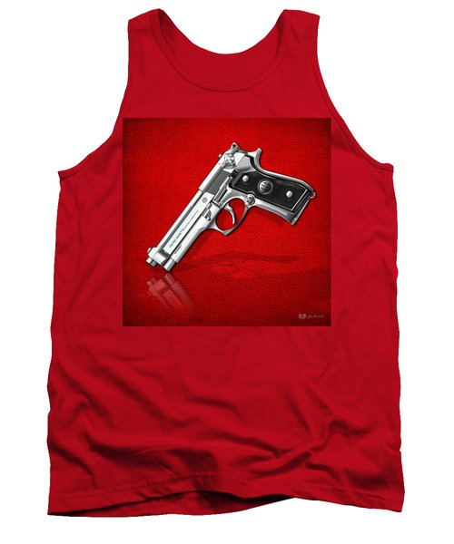 Beretta 92fs Inox Over Red Leather  Tank Top