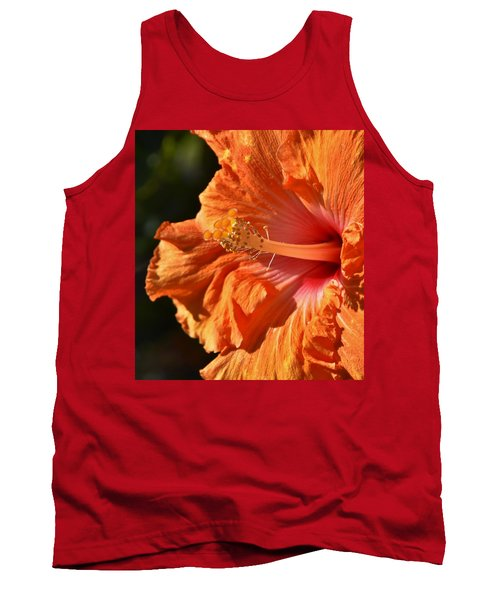 orange Hibiscus blossom Tank Top by Werner Lehmann