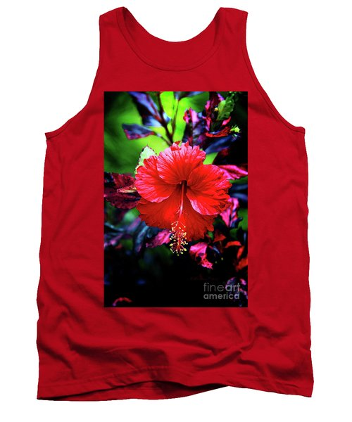 Red Hibiscus 2 Tank Top by Inspirational Photo Creations Audrey Woods