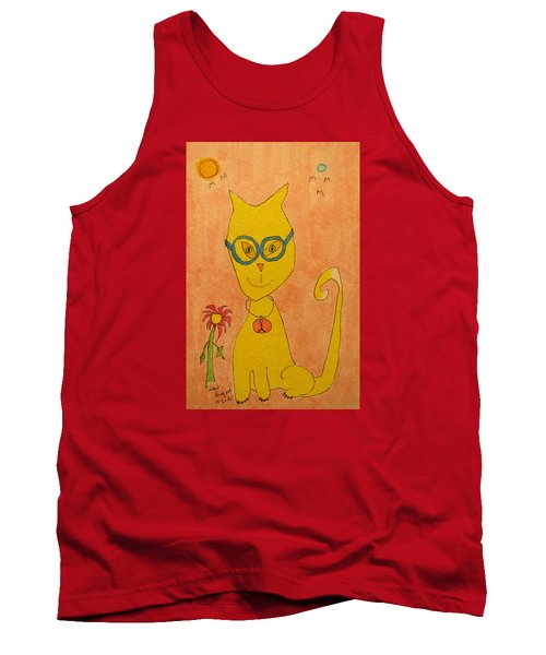 Yellow Cat With Glasses Tank Top