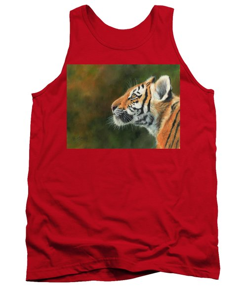 Tank Top featuring the painting Young Amur Tiger  by David Stribbling