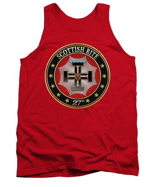 27th Degree - Knight Of The Sun Or Prince Adept Jewel On Red Leather Tank Top