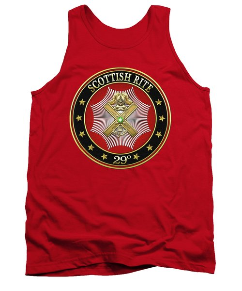 29th Degree - Scottish Knight Of Saint Andrew Jewel On Red Leather Tank Top by Serge Averbukh