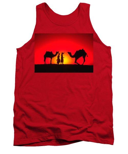 Camels At Sunset Tank Top