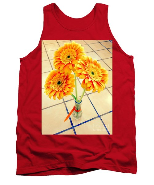 Tank Top featuring the photograph 3 Golden Yellow Daisies Gift To My Beautiful Wife Suffering With No Hair Suffering Frombreast Cancer by Richard W Linford