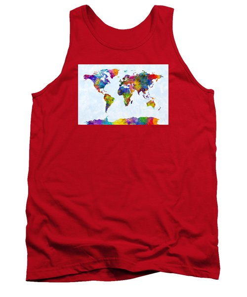 Watercolor Map Of The World Map Tank Top by Michael Tompsett