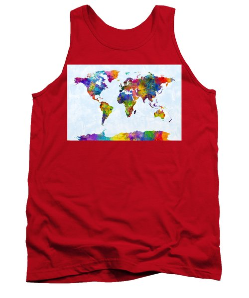 Watercolor Map Of The World Map Tank Top