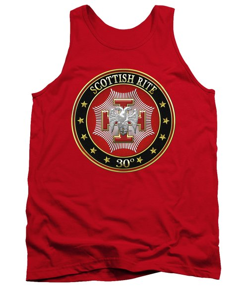 30th Degree - Knight Kadosh Jewel On Red Leather Tank Top by Serge Averbukh