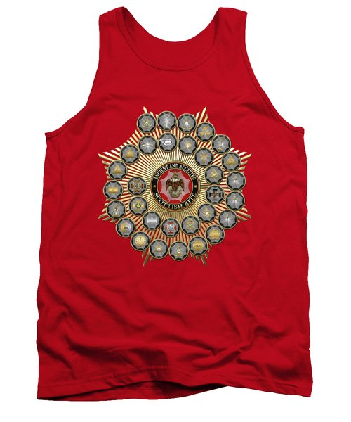 33 Scottish Rite Degrees On Red Leather Tank Top
