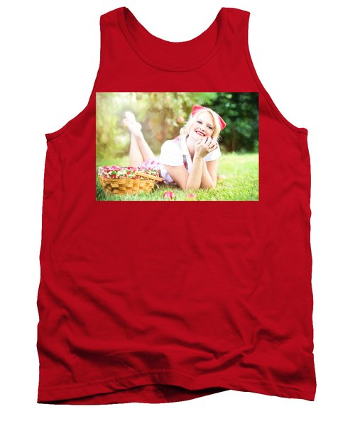 Tank Top featuring the digital art Vintage Val Apple Picking by Jill Wellington