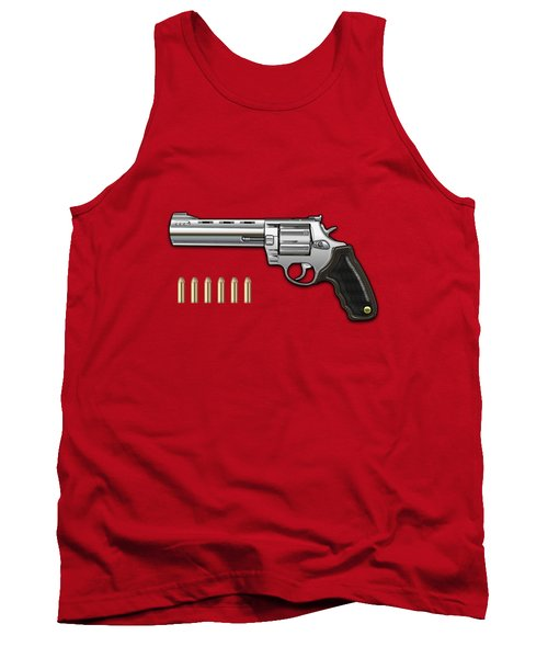 .44 Magnum Colt Anaconda With Ammo On Red Velvet  Tank Top