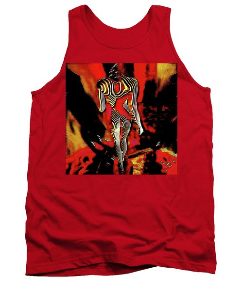 Tank Top featuring the digital art 5335s-mak Figure Art Rendered In Hot Red Palette Knife Style by Chris Maher