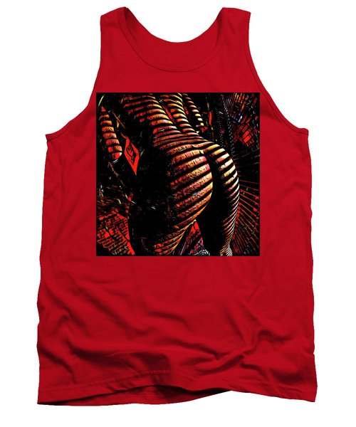 Tank Top featuring the digital art 6799s-nlj Zebra Striped Nude Booty By Window Rendered As Abstract Oil In Reds by Chris Maher