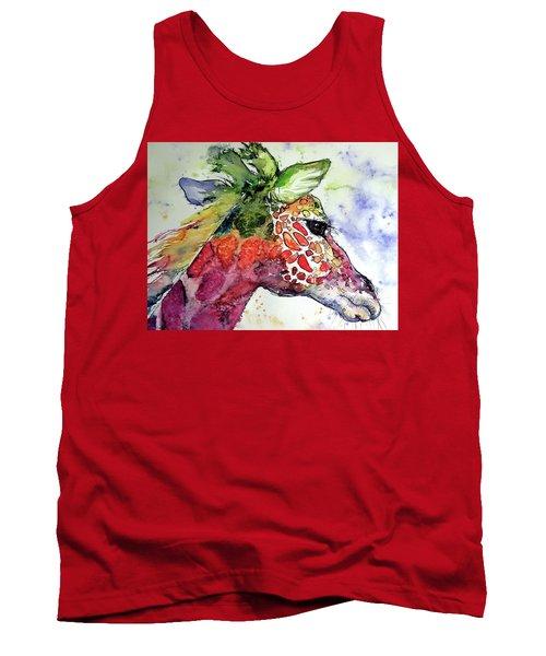 Tank Top featuring the painting Giraffe  by Kovacs Anna Brigitta