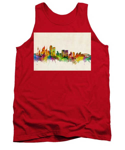 Sydney Australia Skyline Tank Top by Michael Tompsett