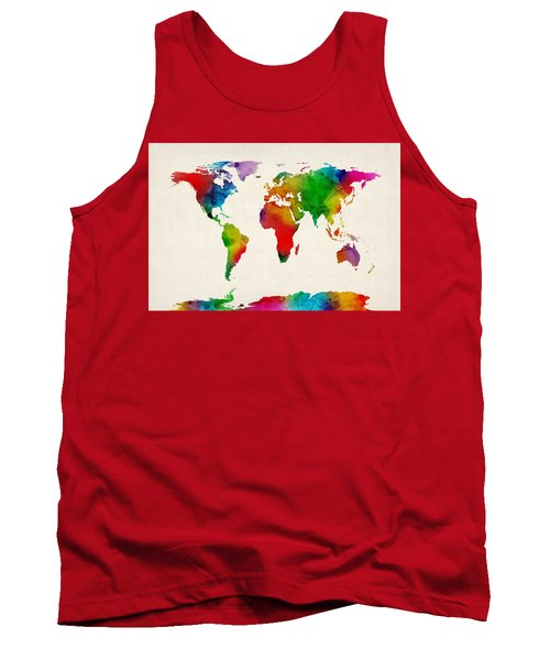 Tank Top featuring the digital art Watercolor Map Of The World Map by Michael Tompsett