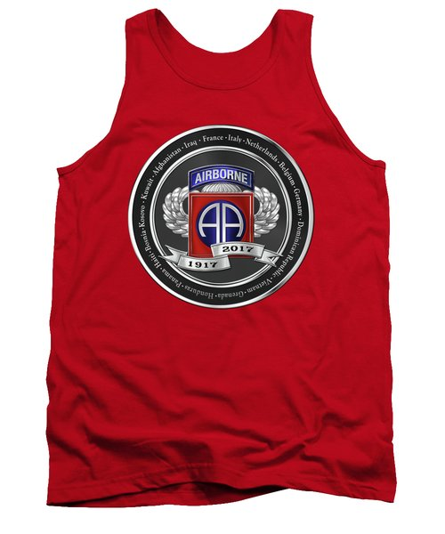 Tank Top featuring the digital art 82nd Airborne Division 100th Anniversary Medallion Over Red Velvet by Serge Averbukh