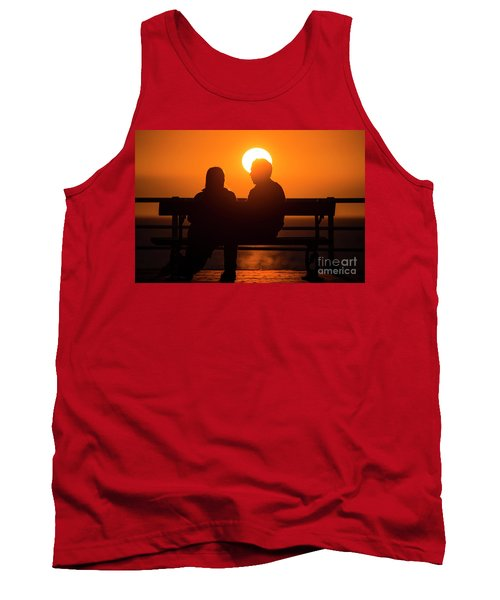 A Couple Sitting At Sunset Tank Top
