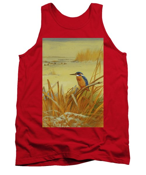 A Kingfisher Amongst Reeds In Winter Tank Top by Archibald Thorburn