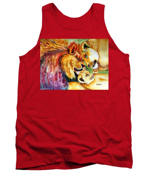 Tank Top featuring the painting A Lion's Pride by Maria Barry